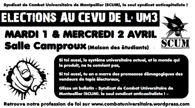 Elections à l'Université Montpellier 3 les 1 et 2 avril.