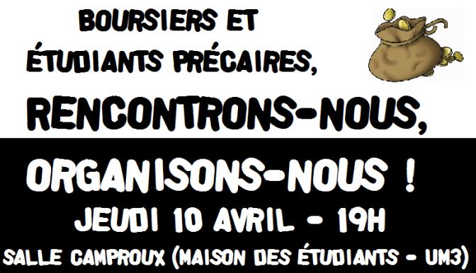 Boursiers, étudiants précaires : réunion d'échanges et de lutte jeudi 10 avril