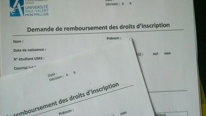 Remboursement des frais d'inscription, dépôt des dossiers mardi 3 novembre