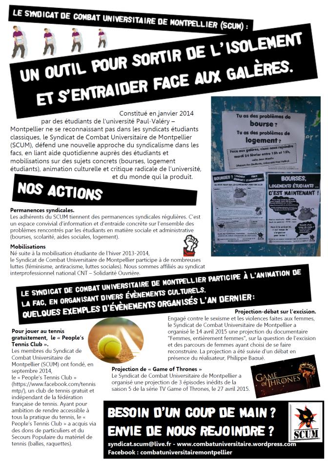 Le Syndicat de Combat Universitaire de Montpellier (SCUM), un outil pour sortir de l'isolement et s'entraider face aux galères.