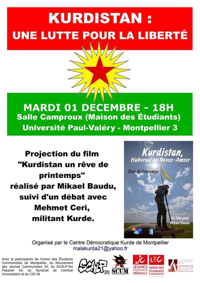 Soirée de solidarité avec le Kurdistan mardi 01 décembre