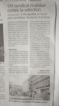 """journal """"Midi Libre"""" du mardi 6 décembre"""