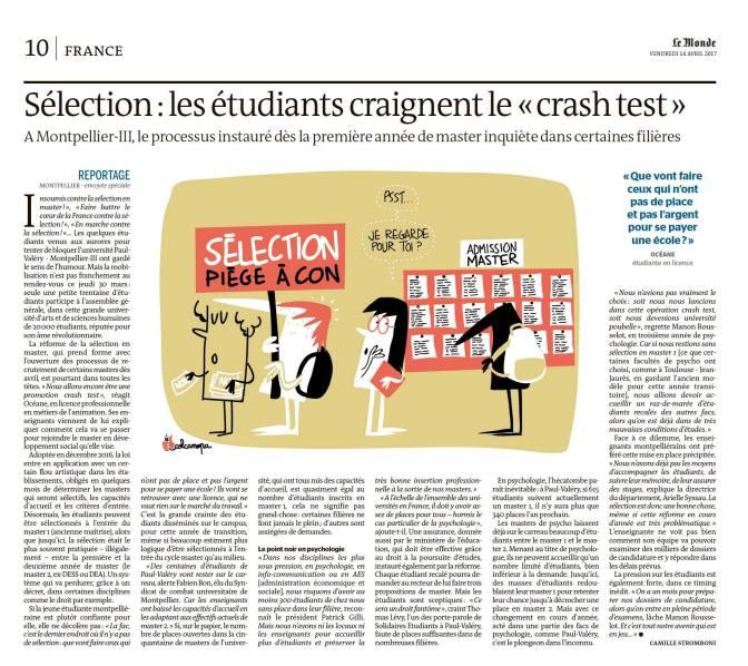 Sélection en Master : « des centaines d'étudiants de Paul-Valéry vont rester sur le carreau »