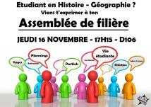 Histoire-géographie : JEUDI 16 NOVEMBRE, 17h15, D106