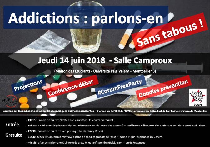 Journée et soirée : «Addictions : parlons-en sans tabous !» jeudi 14 juin